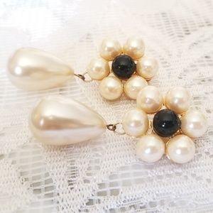 Vintage Pearl & Onyx Flowers Clip Earrings